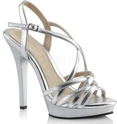 The elegant Fabulicious Lip 113 Strappy Platform Sandal is the perfect addition to your warm-weather wardrobe. Features a heel. platform Strappy upper heel Buckled strap at ankle. Silver Strappy Heels, Metallic High Heels, Black Heels, Ankle Strap Shoes, Shoes Heels, Pumps, Criss Cross, High Heels Plateau, Jeweled Shoes