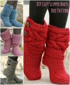 http://www.fashion2do.com/category/slippers/ Knitted and Crochet Slipper Boots FREE Pattern