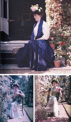 Top: Portrait of Margaret Hope, autochrome, September 1907. Bottom: Margaret Hope, photographed on an autochrome plate (left) and an omnicolore plate (right), ca. 1909. Both photos by Sarah Angelina Acland (1859-1930). From Matters Photographical, blog by Giles Hudson.