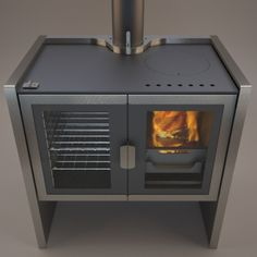 Modern wood stove cooking Wood Stove Cooking, Kitchen Stove, Stove Oven, Modern Wood Burning Stoves, Modern Stoves, Wood Stoves, Wood Stove Hearth, Wood Burner, Cottage Fireplace