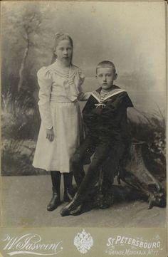 "Photo by I. Yasvoin in 1900 of  Princess Tatiana  Konstantinovna  Romanova (23 Jan 1890-28 Aug 1979 age 89 Jerusalem) Russia & her brother Prince Konstantine Konstantinovich Romanov ""Kostya"" of Russia (1 Jan 1891-18 Jul 1918) Russia. 2 of the children of Grand Duke Konstantin Konstantinovich Romanov ""KR"" (1858-1915 age 56) Russia & wife Princess Elizaveta Mavrikievna (Mavra) (Elisabeth Auguste Marie Agnes) (1865–1927 age 62 of Cancer) Saxe-Altenburg, Germany."