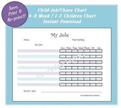 Child Chore & Reward Chart  Instant Download by EverydayForms