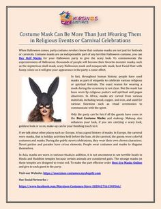 Costume mask can be more than just wearing them in religious events or carnival celebrations pdf Buy Costumes, Costume Hats, Cool Costumes, Halloween Costumes, Novelty Toys, Celebrations, Carnival, Pdf, Events