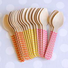 Ice Cream Spoons: Pink Lemonade Chevron