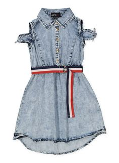 74fa910a1034 Girls 7-16 Belted Denim Skater Dress - Blue - Size 12