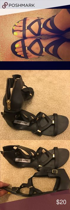 Leather Steve Madden Low Gladiator Sandals Genuine leather Steve Madden black and gold low gladiator sandals. Zip up in the back. Only worn once in great condition. Steve Madden Shoes Sandals