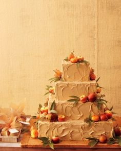 A little autumnal, but I like the squares, the unfussy frosting and floral decor look, and the sound of brown-sugar buttercream.