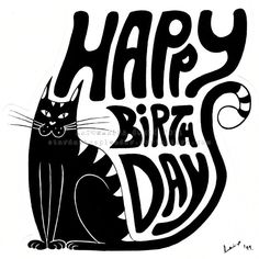 Happy Birthday Cat by Stardust-Splendor on DeviantArt Cat Birthday Wishes, Birthday Blessings, Happy Birthday Greetings, Birthday Clips, Birthday Board, Birthday Stuff, Happy Birthday Google, Princess First Birthday, Happy B Day