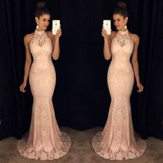 Halter Peach Long Mermaid Cheap Lace Prom Dress, PM0013