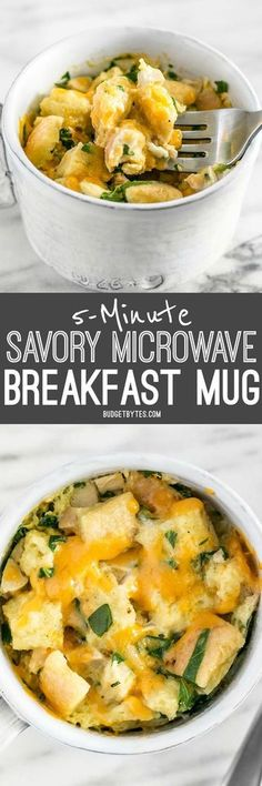 Use the leftovers in your fridge to make this delicious and filling 5 Minute Savory Microwave Breakfast Mug. Fast and easy!