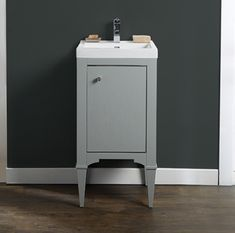 """Charlottesville 18x16"""" Vanity 17.5 x 15.5 x 33.5″.  *would have to check if they do other finishes or if it would be possible to paint it white* (available at Fergusons, Moniques)   w/ sink shown overall height is probably 36.5 and w/ 1.25"""" counter it would be 34.75h"""