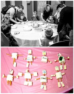 Build-a-Bot out of marshmallows and pretzel sticks - cute robot party activity