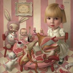 """Mark Ryden - """"Rosie's Tea Party"""" - Pop Surrealism - The work is achingly beautiful as it hints at darker psychic stuff beneath the surface of cultural kitsch."""