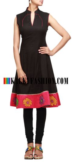 Buy Online from the link below. We ship worldwide (Free Shipping over US$100) http://www.kalkifashion.com/black-kurti-with-applique-and-resham-work.html Black kurti with applique and resham work