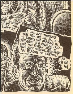 "Robert Crumb - ""Ha ha ha ha"", 1989  / Jean Paul Sartre, ""Nausea"""