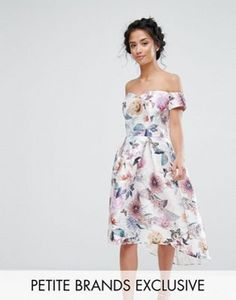 Chi Chi Petite All Over Printed Off Shoulder Midi Dress
