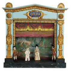 """""""Fascination"""" - Sunday, January 149 French Miniature Toy Theatre with Bisque Performers Toy Theatre, Bisque Doll, Toy Craft, Art Furniture, Paper Toys, Toys Shop, Doll Accessories, Antique Dolls, Vintage Toys"""