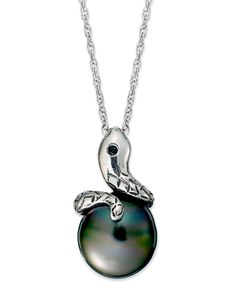 Pearl Necklace, Sterling Silver Cultured Tahitian Pearl Snake Pendant (12mm)