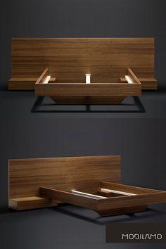 in höchster Tischlerqualität Wooden Shelf Design, Wood Bed Design, Bed Frame Design, Platform Bed Designs, Diy Platform Bed, Hotel Bedroom Design, Bedroom Furniture Design, Small Room Bedroom, Modern Bedroom