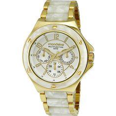 Relógio Feminino Esportivo Analógico Dourado/Branco Cintilante  94474LPMGDP3…