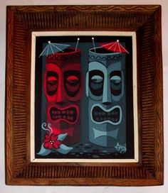 El gato gomez painting retro 50s hawaii tiki bar mug mid century polynesian pop