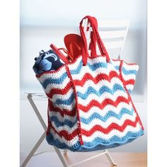 4th of July Beach Bag | Crochet | Free Pattern | Yarnspirations | Summer | Memorial Day | 4th of July