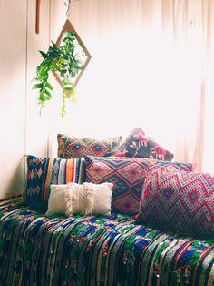 get the boho nook look -- Boho interior, colorful mandala throw pillows -- eclectic bohemian woven native american design
