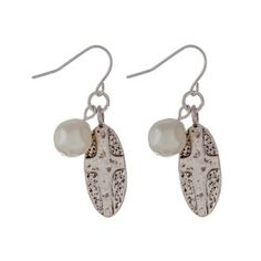 575762500518 Silver tone fishhook earrings with a hammered cross and pearl bead.  Approximately 1