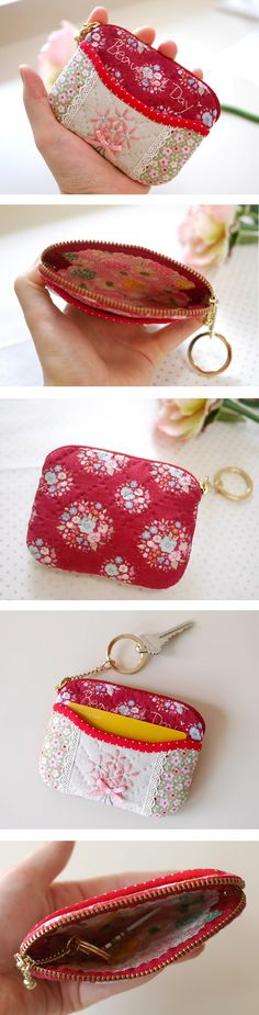Small Purse Unicorn printed fabric coin purse with ball snap clasp Pink Mint