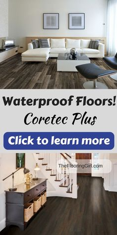 Waterproof flooring that looks like hardwood.  I love this new innovative product.  Check out my full review here.  Engineered Luxury vinyl plank.