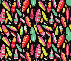 Aztec bird feather fabric by littlesmilemakers on Spoonflower - custom fabric - wallpaper and wrapping paper and some DIY inspiration by Maaike Boot