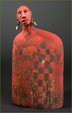 'Africa07' by South African-born American ceramic sculptor Roelna Louw. 15 x 8 x 3.5 in. via the artist's site