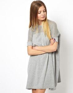 Bild 1 von ASOS – T-Shirt-Kleid mit Netzbahn