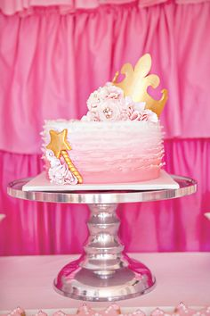 """Darling """"Pretty In Pink"""" Princess Party // Hostess with the Mostess® Pink Princess Cakes, Pink Princess Party, Princess Birthday, Princess Theme, Disney Princess, Pretty Cakes, Beautiful Cakes, Amazing Cakes, Cupcakes"""