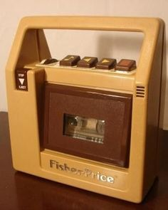 Fischer Price cassette tape player, 1980's. Got dropped in the bath, dried out with hair dryerand still worked!