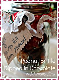 21 Rosemary Lane: Homemade Peanut Brittle Dipped in Chocolate