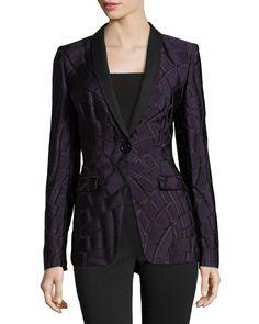 Escada One-Button Shawl-Collar Jacket, Iris (Purple), Women's, Size: 44