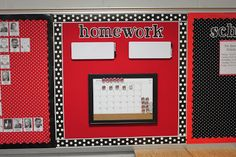 red and black bulletin boards