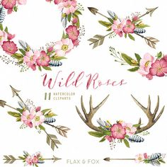 This set of high quality hand painted water-colour floral Bouquets, Arrows, Antlers and Wreath. Perfect graphic for wedding invitations, greeting cards, photos, posters, quotes and more.  -&-  INSTANT DOWNLOAD Once payment is cleared, you can download your files directly from your Etsy account.  -&-  This listing includes:  11 x Watercolor Cliparts in PNG with transparent background and JPG with white background  Bouquets size approx: 10 inches (25cm), 3000px 300dpi Wreaths size approx: 12…