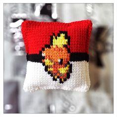 Now available on the #cannon_ink etsy shop.  https://www.etsy.com/shop/CannonInk?ref=hdr_shop_menu #Torchic #Charmeleon #Pokemon #Pokeball #crochet #pillow #pixel #pixelart #knitpillow #anime