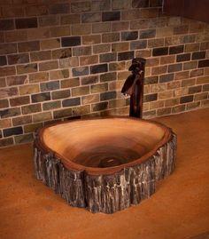 Petrified wood sink concrete sink by FluidStoneConcrete on Etsy gestalten Petrified Wood Concrete Sink