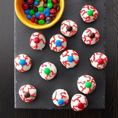 Scary Eyeballs Recipe -Kids will squeal with delight at the sight of these eyeball treats from Shannon Blatchley of Ludlow, Massachusetts. They'll love the peanut butter flavor, too!