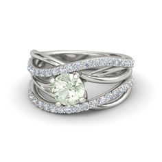 Round Green Amethyst Platinum Ring with Diamond | Wrap Solitaire Pave Ring | Gemvara