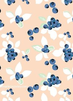 blueberry repeat pattern - vintage inspired retro style