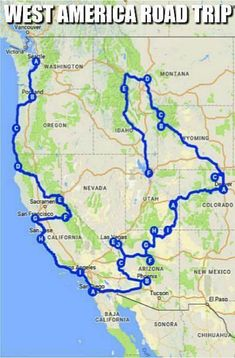 If you're looking for inspiration for your next American road trip on the West Coast, then check out this perfect West American road trip! Looking for inspiration for your next road trip on the West Coast? Here's the perfect West American road trip! Road Trip Usa, Road Trip Route 66, West Coast Road Trip, Pacific Coast Highway, Road Trip National Parks, West Road, Rv Travel, Travel Maps, Family Travel