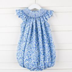 Smocked Geometric Bubble Blue Floral