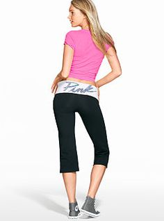 Cute to the core, cropped: the Crop Yoga Pant from Victoria's Secret PINK, where you'll find the best bottoms and yogawear to lounge in & work out in colors, graphics and prints with extra sparkle.