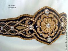 """Золотой пояс """"Королева Меровингов"""" - пояс женский,кожаный пояс,пояс,жемчуг Сваровски"""