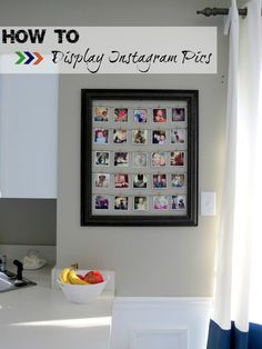 display instagram photos in a frame using twine and tiny clothespins!  Easily change out the photos when the mood strikes.  This would be SUPER CUTE near the desk