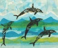 dolphin prints repeated on collage bkd - step by step. Should try this session